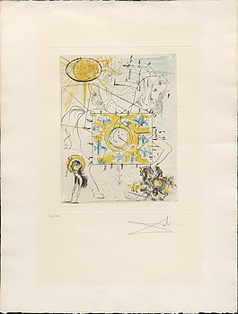 Salvador Dalí, etching with aquatint, signed and numbered 50/100.