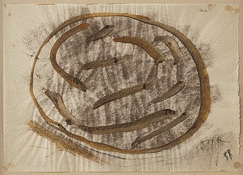 Eddie Figge, mixed media on thin paper, signed and dated -58.