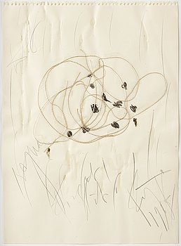 Eddie Figge, mixed media with collage on paper, signed and dated 1965.