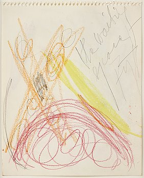 Eddie Figge, mixed media on paper, signed, executed around 1973.