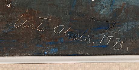 Unto ahola, olja på duk, signerad och daterad 1973.