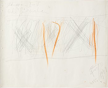 Eddie Figge, mixed media on paper, signed and dated 1989.