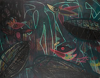 Janne Wiljakainen, mixed media on canvas, signed and dated -16.