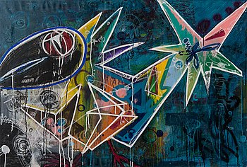 Janne Wiljakainen, mixed media, a tergo signed on the stretcher 2016.
