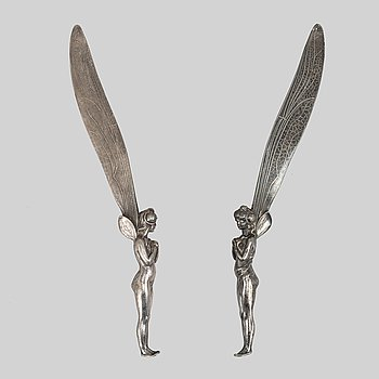 A pair of Art Nouveau fairy letter openers, early 20th Century.