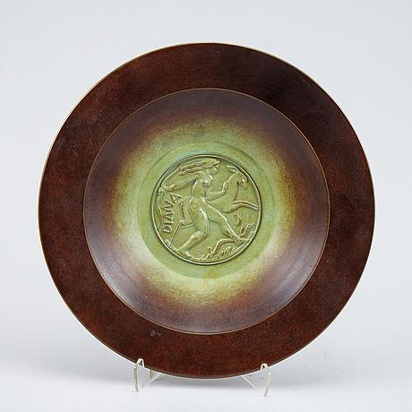 A patinated bronze ystad-brons platter, sweden, 1930's.