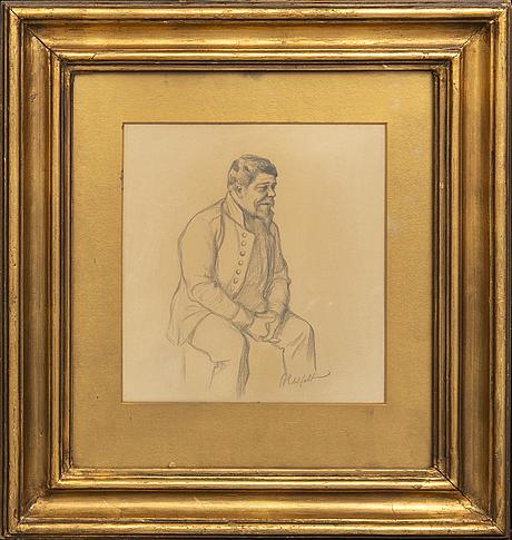 Albert edelfelt, teckning signerad.
