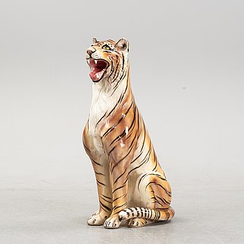 A ceramic sculpture of a seated tiger, Italy, 1960's/70's.