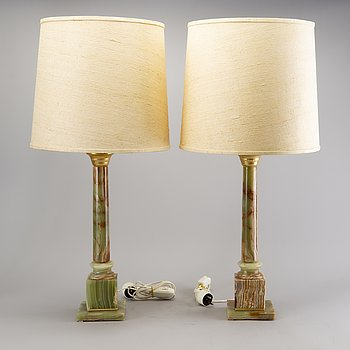 A pair of onyx table lamps later part of the 20th century.