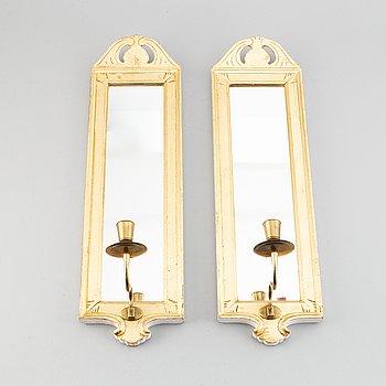 "Spegellampetter, ett par, ""Regnaholm"", Ikea:s 1700-talsserie, 1990-tal."