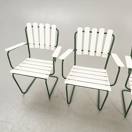 Garden group, 4 chairs, table, mid 1900s.