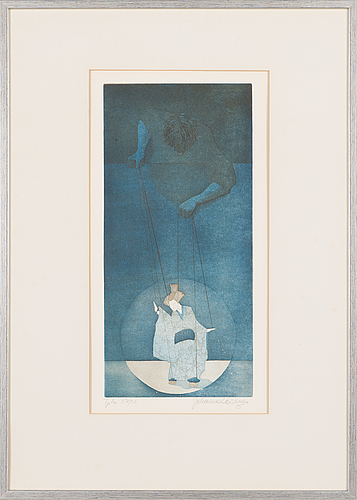 Johanna koistinen, etching, signed and dated -85, numbered tpla 27/30.