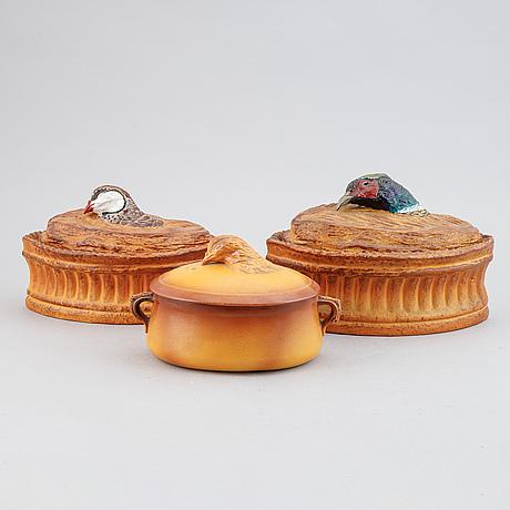 Pastejformar, 3 st, keramik, tidigt 1900-tal.