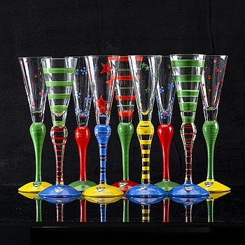 "Anne Nilsson, shot glass, 9 pcs, ""Clown"", Orrefors."