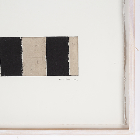 Alan green, etching and collage, signed and dated -99. numbered 4/7. unique.