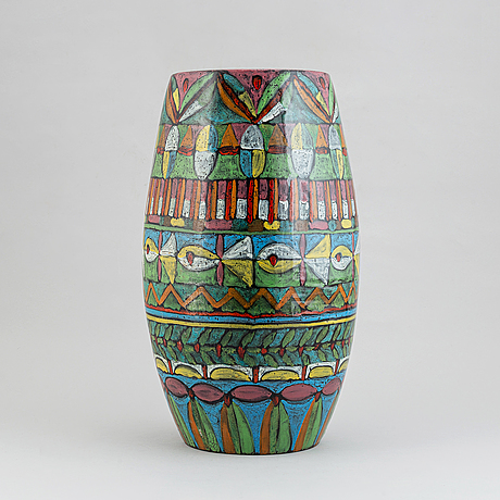 An earthenware floor vase, molaroni pesaro, italy.