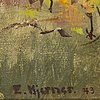 Esther kjerner, oil on panel, signed and dated -43.