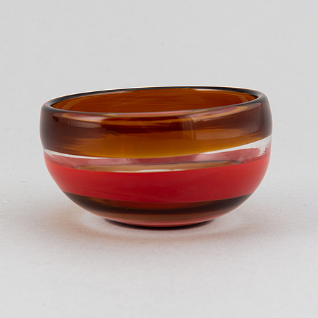 A glass bowl by venini, murano, italy, numbered 115  9/10.