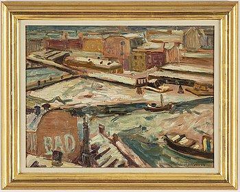 Eric Hallström, oil on panel, signed.