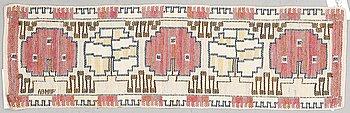 "Märta Måås-Fjetterström, a textile, ""Grodblad röd"", flat weave, ca 28 x 88 cm, signed AB MMF."