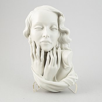 A porcelain, wall sculpture, kunstporzellane Metzler & Ortloff, Germany, mid 20th century.