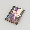 A viennese silver cigarette case with a minature painting, austria, around the year 1900.