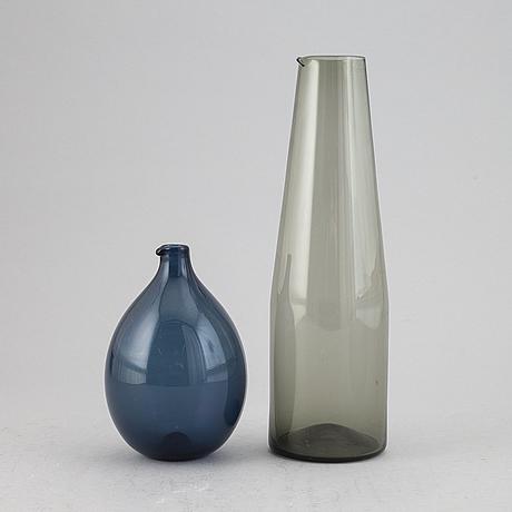 Timo sarpaneva, a set of two glass 'bird bottles', for iittala, finland.