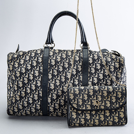 Christian dior, two canvas handbags.