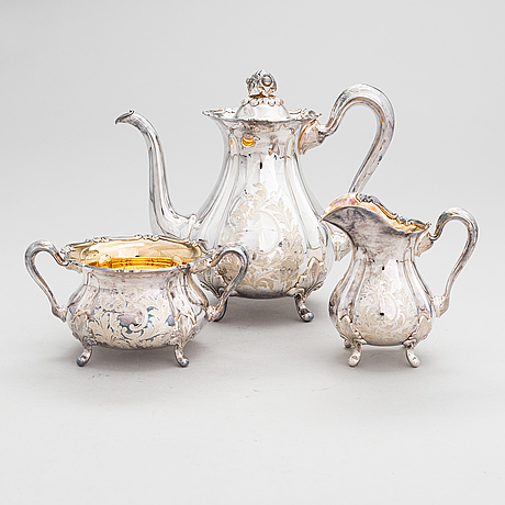 Kaffeservis, 3 delar, silver, auran kultaseppä, åbo 1980.