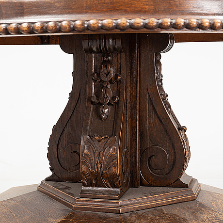 A oak and stone coffee table, first half of the 20th century.