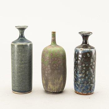 Rolf Palm, a set of three miniature stoneware vases.