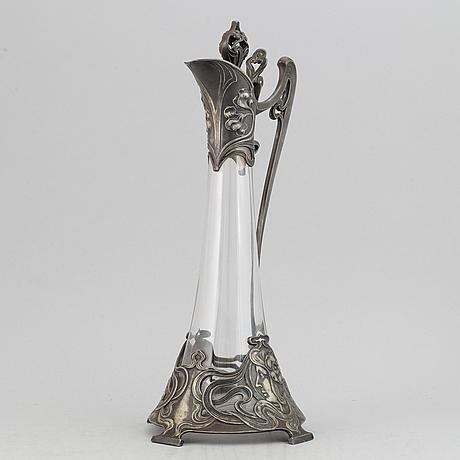 Württembergische metallwarenfabrik, an art nouveau silver plated claret jug, early 20th century.