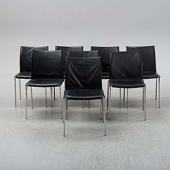 A set of eight steel and leather chairs, 21th century.