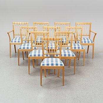 Eight chairs and two armchairs, model 1165, designed by Josef Frank in 1946-47 for Firma Svenskt Tenn.