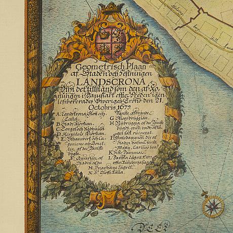 Erik dahlbergh, efter, handkolorerade kopparstick över staden helsingborg och landskrona, daterad 1679. tryckt 1922.