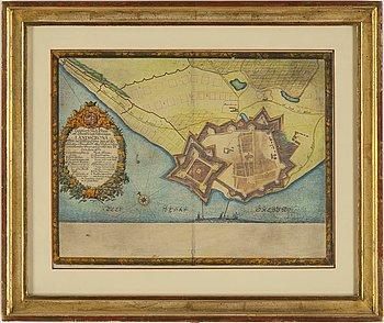 Erik Dahlbergh, after, coloured engravings, maps over Helsingborg and Landskrona, daterad 1679. Printed 1922.