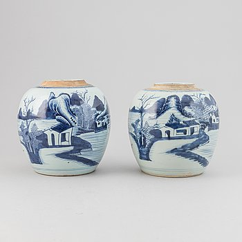 Two blue and white jars, Qing dynasty, 18th century.