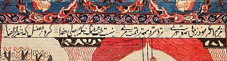 A rug, semi-antique kashan figural, ca 213 x 136 cm.