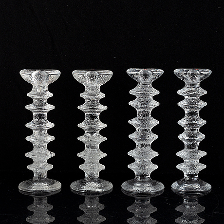 Timo sarpaneva, a set of five glass candle sticks, 'festivo', iittala, finland. designed 1966.