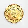 Kultaraha, 20 markkaa, kultapitoisuus 900, suomi 1910.