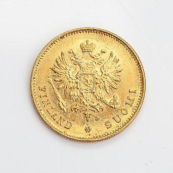 Guldmynt, 20 mark, (900/1000), Finland 1910.