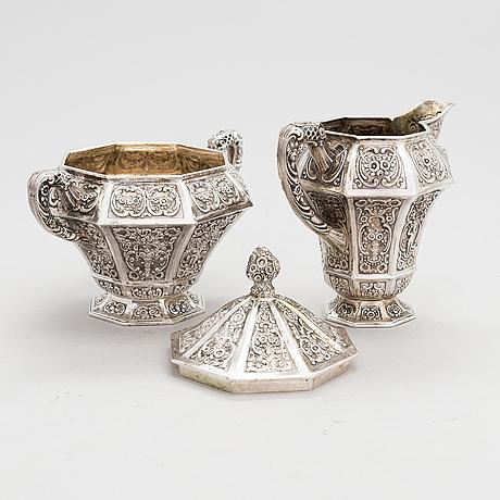 Te- och kaffeservis, 4 delar, silver, tyskland 1900-talets första hälft.