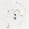 Pege alton, silver and rock crystal, necklace, ring, bangle and earrings.