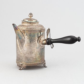 A Swedish 18th Century silver coffee pot, mark of Anders Hjulstrom, Koping 1788.