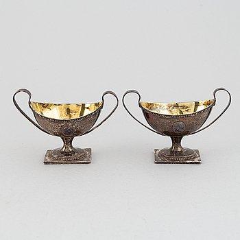 A pair of silver salt cellars by J. Henrik Frodell,  Stockholm, 1791.