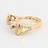 Brilliant-cut diamond and pearl ring.