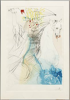 Salvador Dalí, color stitching and dry needle colored with stencil, signed and numbered 233/450.