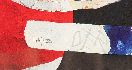 Carl fredrik reuterswärd, färglitografi, signerad cfr och numrerad 166/450 med blyerts.