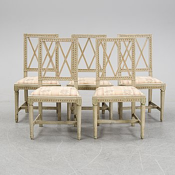 Five painted Gustavian chairs, late 18th Century.