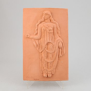 Carl Milles, a teracotta relief, signed with stamp, numbered 43/200.